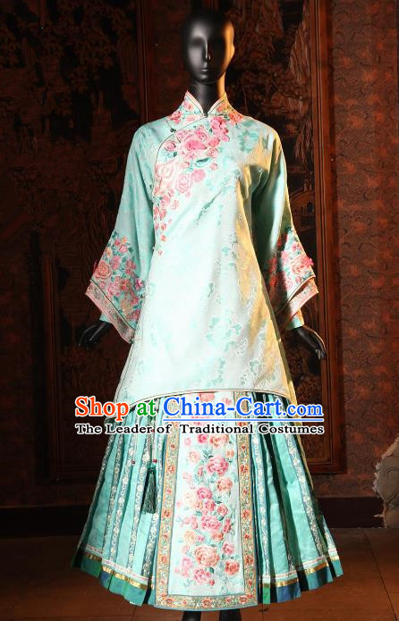 Traditional Ancient Chinese Republic of China Young Mistress Costume, Chinese Qing Dynasty Embroidered Xiuhe Suit Clothing for Women