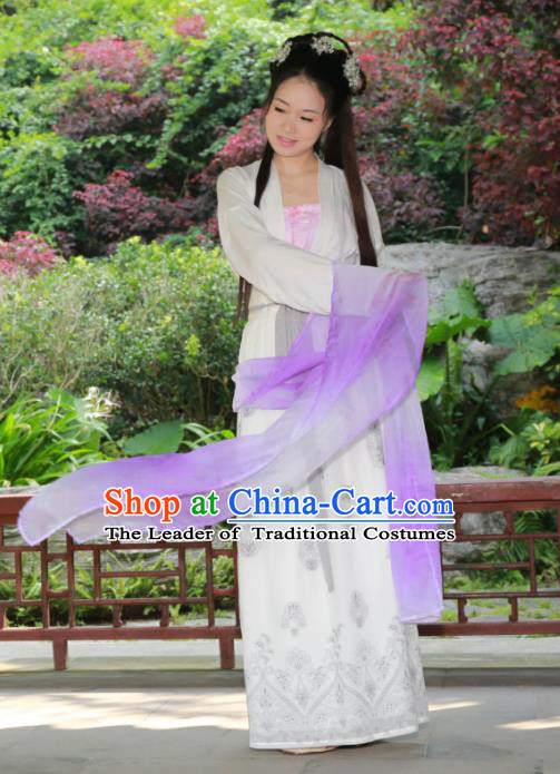 Traditional Ancient Chinese Imperial Princess Hanfu Costume, Asian China Tang Dynasty Palace Lady Ink Painting Dress Clothing for Women