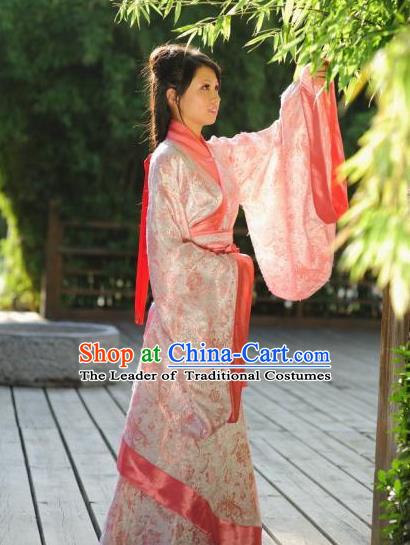 Traditional Chinese Ancient Palace Lady Costume Pink Curve Bottom, Asian China Han Dynasty Imperial Concubine Clothing for Women