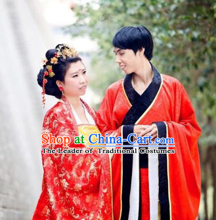 Traditional Chinese Ancient Wedding Costume Complete Set, Asian China Tang Dynasty Bride and Bridegroom Red Clothing for Women for Men