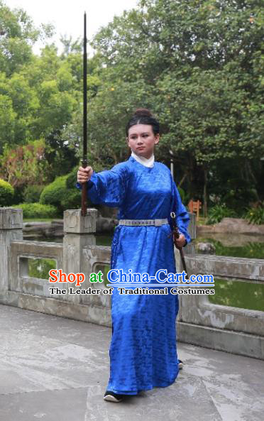 Traditional Ancient Chinese Scholar Hanfu Costume, Asian China Song Dynasty Swordsman Blue Robe Clothing for Men