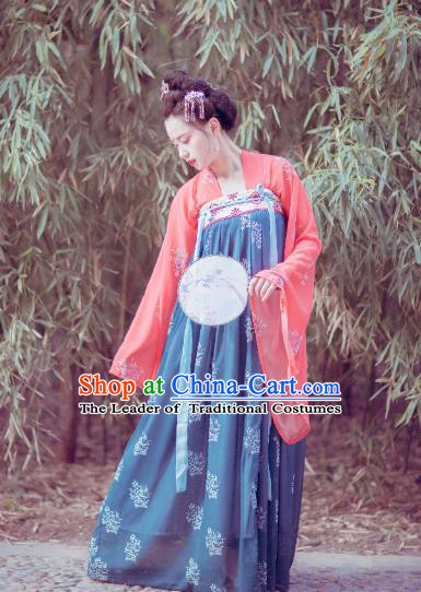 Traditional Chinese Ancient Costume Palace Lady Printing Navy Slip Skirt, Asian China Tang Dynasty Imperial Princess Hanfu Dress Clothing for Women