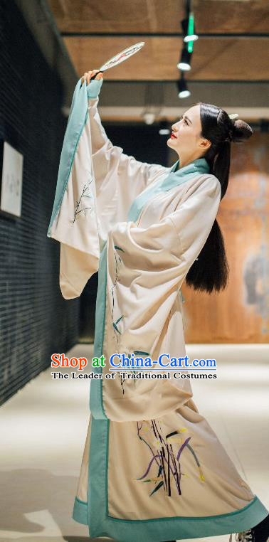 Traditional Chinese Ancient Costume Palace Lady Embroidered Bamboo Cloak, Asian China Han Dynasty Imperial Princess Cardigan Clothing for Women