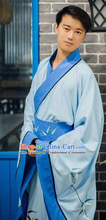 Traditional Chinese Ancient Costume Blue Embroidered Bamboo Cloak, Asian China Han Dynasty Cardigan Clothing for Men