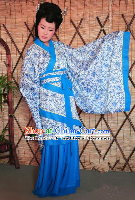 Traditional Chinese Ancient Young Lady Printing Costume Blue Curve Bottom, Asian China Han Dynasty Imperial Concubine Hanfu Clothing for Women