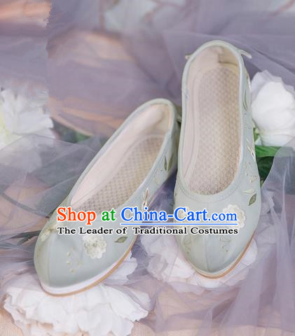 Traditional Ancient Chinese Palace Lady Hanfu Embroidered Green Shoes Bow Shoes, Asian China Princess Blood Stained Shoes for Women
