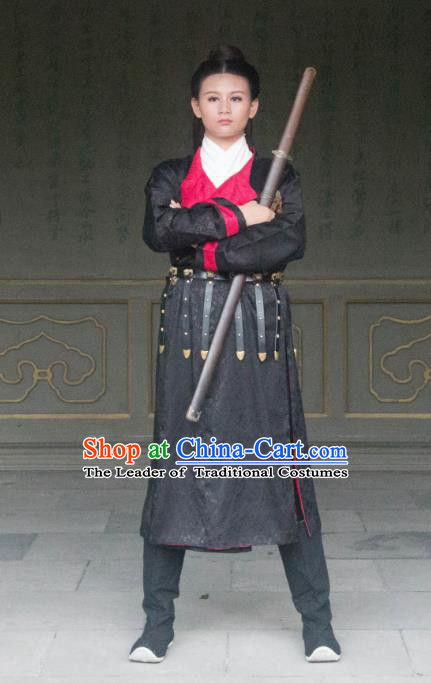 Traditional Ancient Chinese Swordsman Costume, Elegant Hanfu Clothing Chinese Tang Dynasty Imperial Bodyguard Clothing for Men