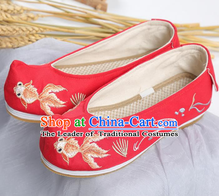 Traditional Ancient Chinese Palace Lady Hanfu Embroidered Red Shoes Bow Shoes, Asian China Princess Blood Stained Shoes for Women