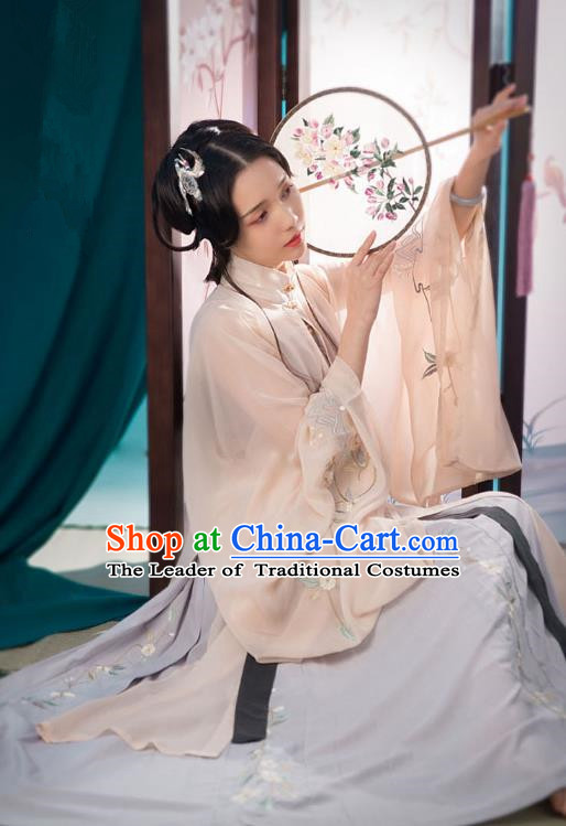 Traditional Ancient Chinese Princess Hanfu Costume Embroidered Pink Blouse and Skirt, Asian China Ming Dynasty Imperial Concubine Clothing for Women