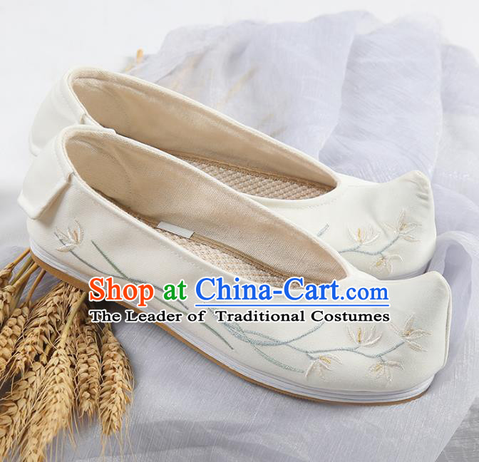 Traditional Ancient Chinese Palace Lady Hanfu Embroidered Orchid Shoes Bow Shoes, Asian China Princess Blood Stained Shoes for Women