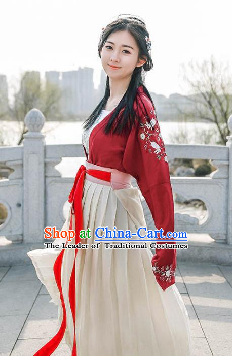 Traditional Ancient Chinese Palace Lady Hanfu Costume Embroidered Red Blouse, Asian China Tang Dynasty Imperial Princess Clothing for Women