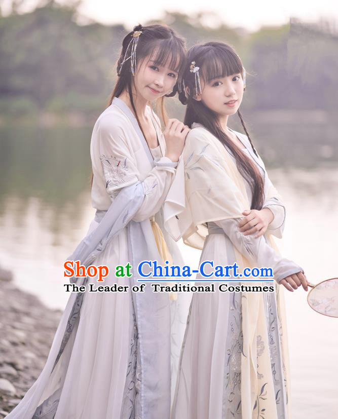 Traditional Ancient Chinese Young Lady Embroidered Costume Blouse and Skirt, Asian China Tang Dynasty Princess Hanfu Clothing for Women