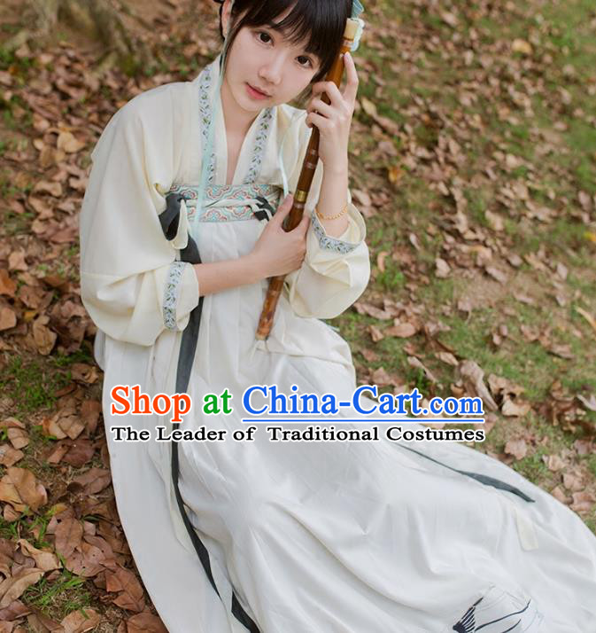 Traditional Ancient Chinese Palace Lady Hanfu Costume White Embroidered Blouse and Skirt, Asian China Tang Dynasty Princess Dress Clothing for Women