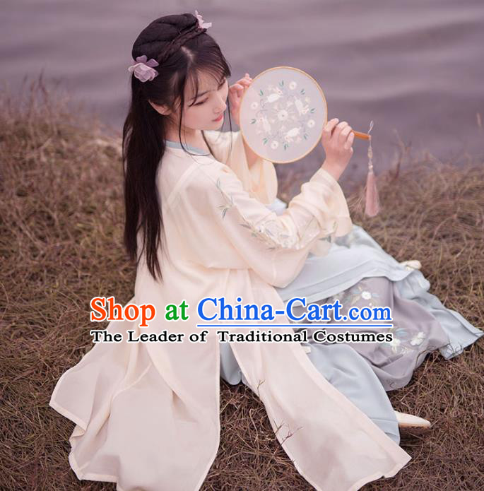 Traditional Ancient Chinese Palace Lady Hanfu Costume Embroidered Blouse and Pants, Asian China Song Dynasty Princess Dress Clothing for Women
