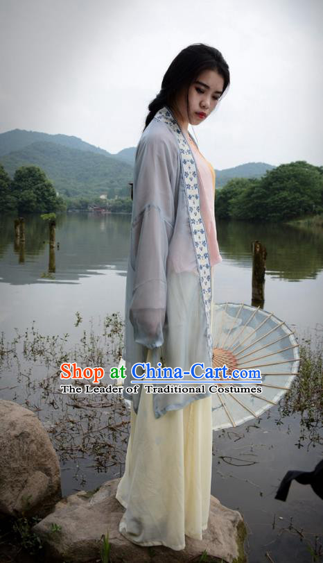 Traditional Ancient Chinese Young Lady Hanfu Embroidered Costume, Asian China Song Dynasty Imperial Princess Clothing for Women