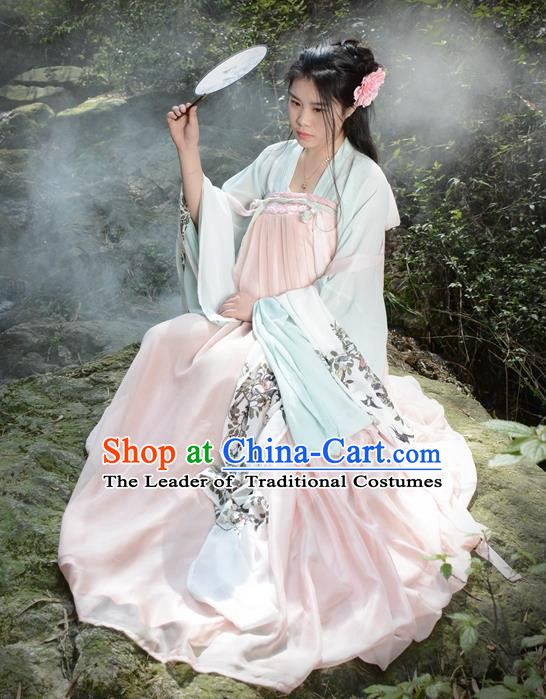 Traditional Ancient Chinese Young Lady Hanfu Embroidered Costume, Asian China Tang Dynasty Imperial Princess Clothing for Women