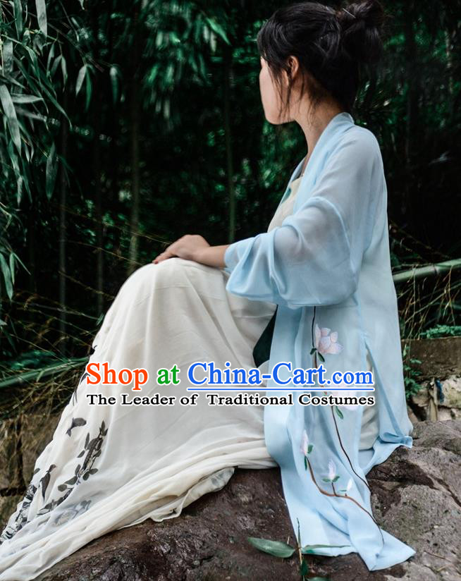 Traditional Ancient Chinese Young Lady Hanfu Costume Blue Embroidered BeiZi, Asian China Tang Dynasty Imperial Princess Cardigan Clothing for Women
