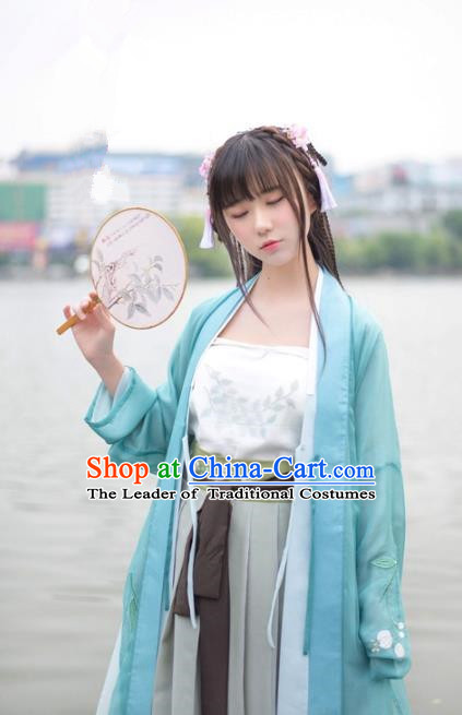 Traditional Chinese Song Dynasty Palace Lady Hanfu Costume Blue BeiZi, Asian China Ancient Princess Dress Embroidered Clothing for Women