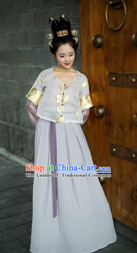 Traditional Chinese Tang Dynasty Palace Lady Hanfu Embroidered Costume, Asian China Ancient Princess Clothing for Women