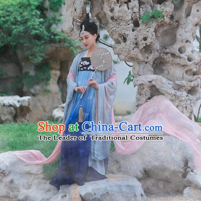 Traditional Chinese Ancient Palace Lady Embroidered Costume, Asian China Tang Dynasty Empress Dress Clothing Complete Set