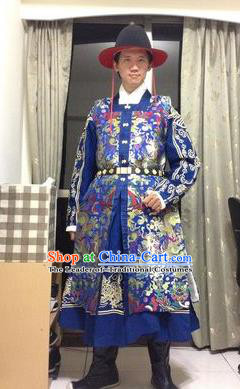 Traditional Chinese Ancient Costume Embroidered Blue Vest, Asian China Ming Dynasty Swordsman Clothing for Men