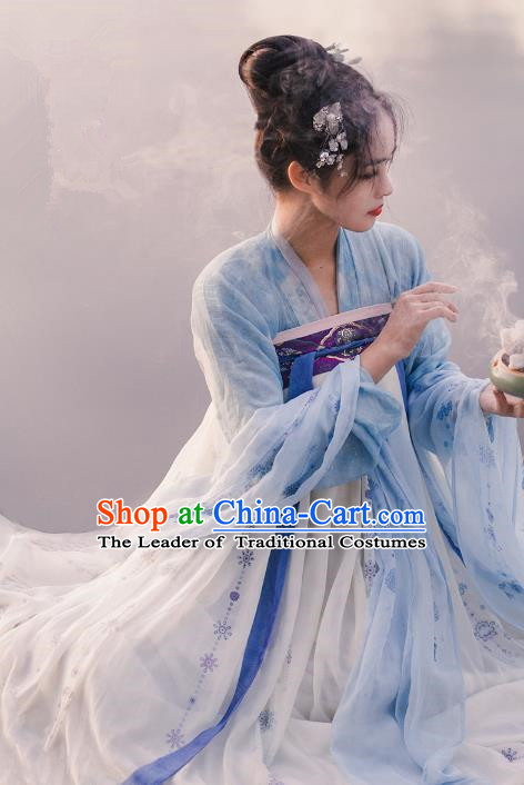 Traditional Chinese Ancient Costume Imperial Concubine Silk Blouse and Slip Skirt, Asian China Tang Dynasty Palace Lady Clothing for Women