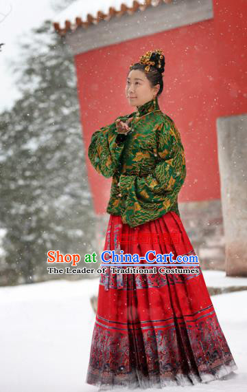 Traditional Chinese Ancient Costume Imperial Consort Green Blouse, Asian China Ming Dynasty Palace Lady Hanfu Clothing for Women