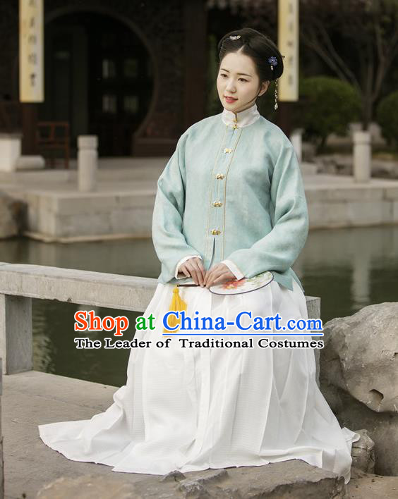 Traditional Chinese Ancient Costume Blue Blouse and Skirt, Asian China Ming Dynasty Nobility Lady Hanfu Clothing for Women