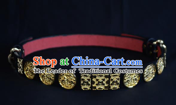 Traditional Ancient Chinese Hanfu Emperor Black Belts, Asian China Ming Dynasty Imperial Guards Leather Waistband for Men