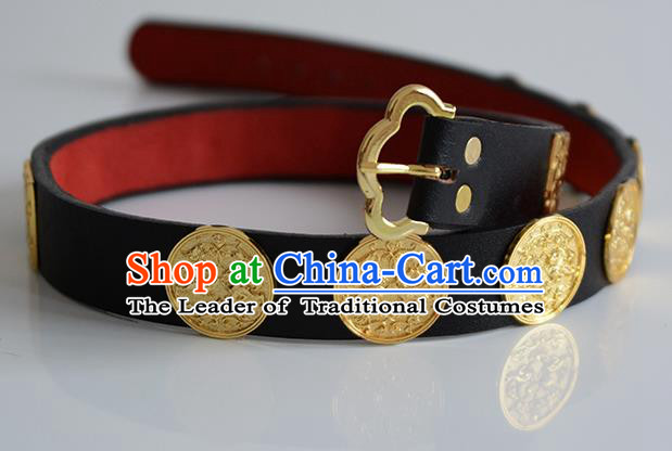 Traditional Ancient Chinese Hanfu Emperor Black Belts, Asian China Tang Dynasty Imperial Guards Leather Waistband for Men