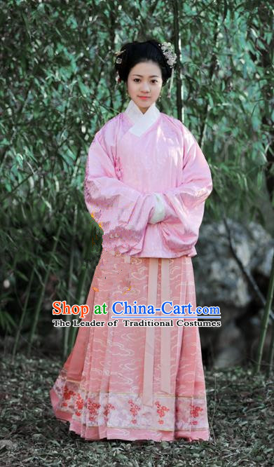 Traditional Chinese Ancient Costume Princess Pink Blouse and Skirt, Asian China Ming Dynasty Palace Lady Hanfu Clothing for Women