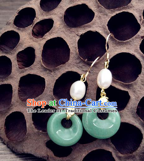 Traditional Handmade Chinese Ancient Classical Hanfu Wedding Accessories Tassel Jade Earrings for Women