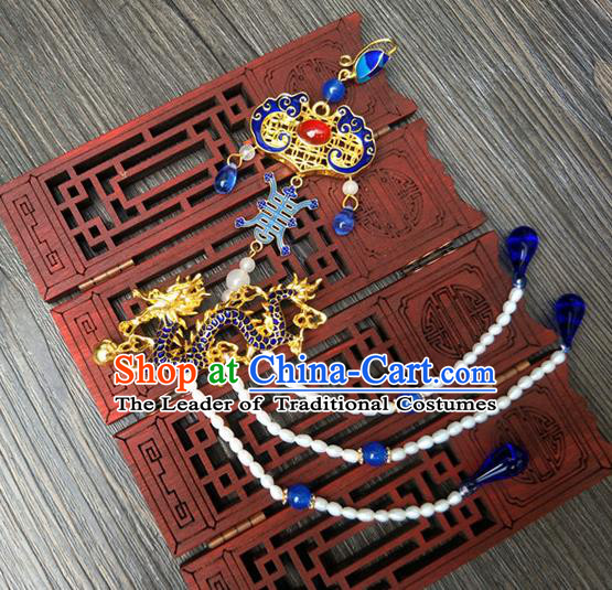 Traditional Handmade Chinese Ancient Classical Hanfu Accessories Blueing Tassel Pendant Brooch for Women