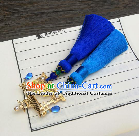 Traditional Handmade Chinese Ancient Classical Hanfu Accessories Blue Tassel Breastpin Pendant Brooch for Women