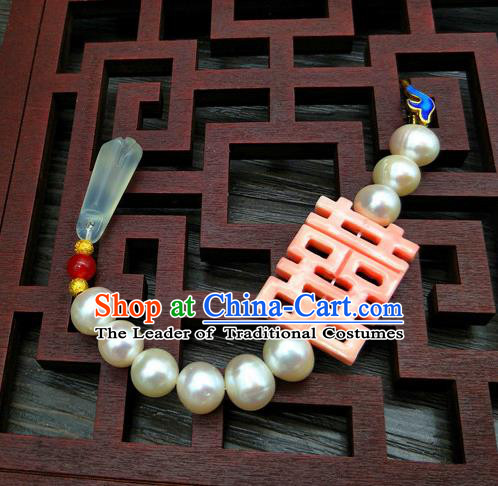 Traditional Handmade Chinese Ancient Classical Hanfu Accessories Pearls Tassel Breastpin Pendant Brooch for Women