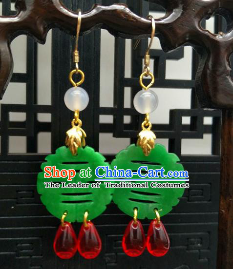 Traditional Handmade Chinese Ancient Classical Hanfu Wedding Accessories Eardrop Green Jade Tassel Earrings for Women