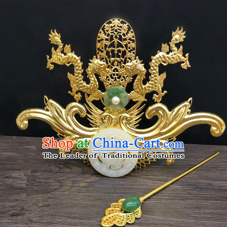 Traditional Handmade Chinese Ancient Classical Hair Accessories Emperor Tuinga Hairdo Crown Hairpins for Men