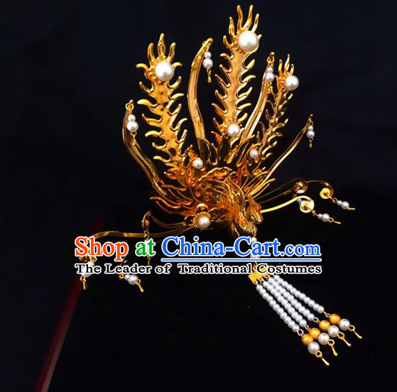 Traditional Handmade Chinese Ancient Classical Hair Accessories Queen Phoenix Coronet, Tassel Step Shake Hair Fascinators Hairpins for Women