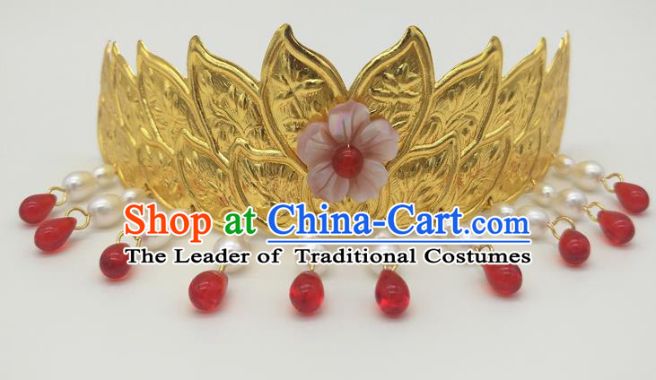 Traditional Handmade Chinese Ancient Classical Hair Accessories Queen Tassel Lotus Coronet, Princess Hair Fascinators Hairpins for Women