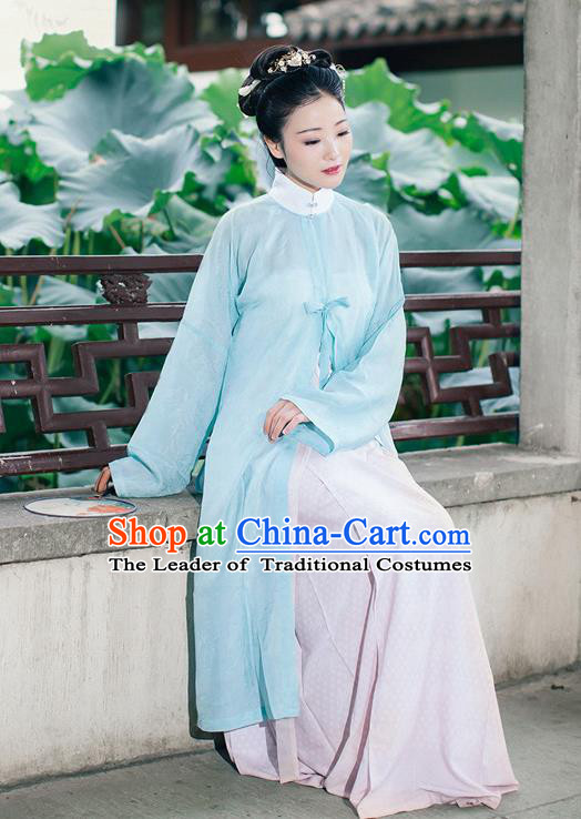 Traditional Chinese Ming Dynasty Imperial Princess Costume, Asian China Ancient Palace Lady Hanfu Silk Blouse and Skirt Clothing for Women