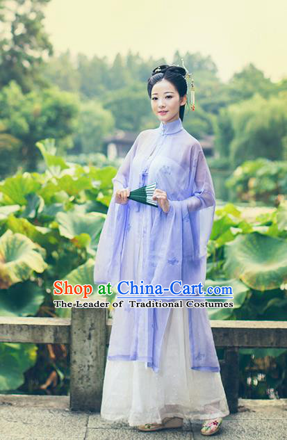 Traditional Chinese Ming Dynasty Princess Costume, Asian China Ancient Palace Lady Hanfu Purple Silk Blouse and Skirt Clothing for Women