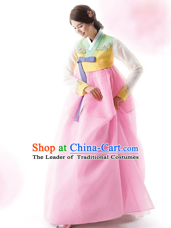 Traditional Korean Costumes Wedding Full Dress, Bride Formal Attire Ceremonial Clothes, Korea Court Stage Dance Clothing for Women