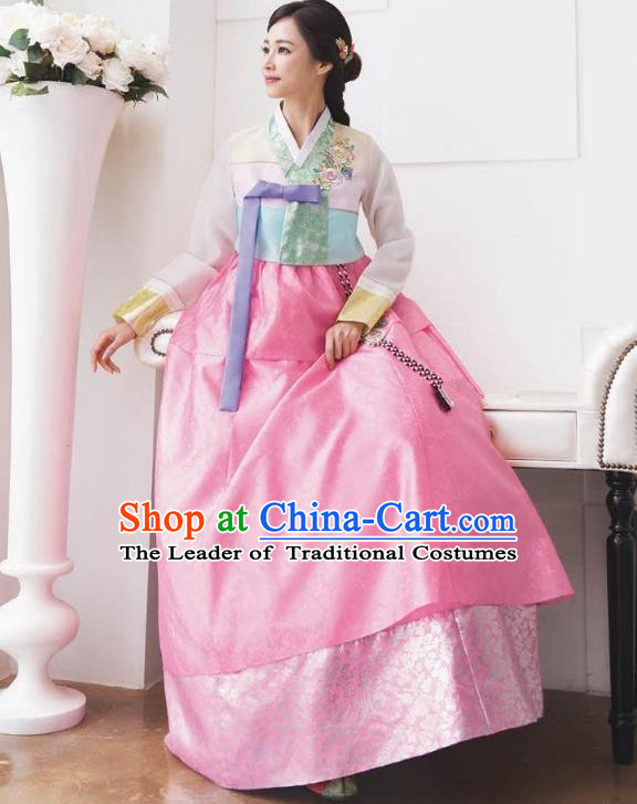Traditional Korean Costumes Bride Formal Attire Ceremonial Green Blouse and Full Dress, Korea Hanbok Court Embroidered Wedding Clothing for Women