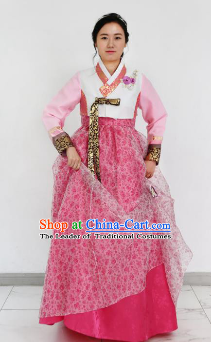 Traditional Korean Costumes Bride Formal Attire Ceremonial Pink Dress, Korea Hanbok Court Embroidered Clothing for Women