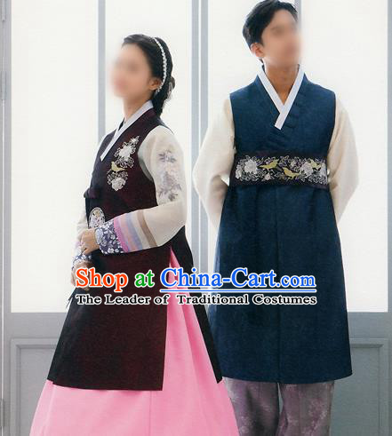Traditional Korean Costumes Bride and Bridegroom Formal Attire Ceremonial Clothes, Korea Hanbok Court Embroidered Clothing for Women for Men