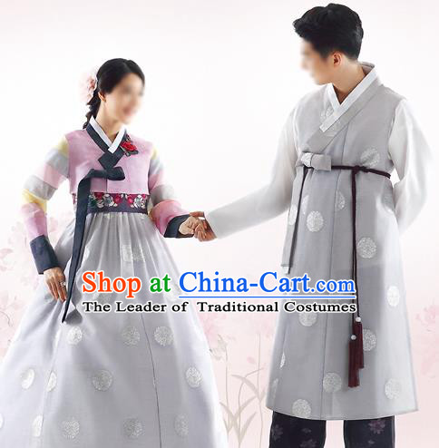 Traditional Korean Costumes Bride and Bridegroom Formal Attire Ceremonial Grey Clothes, Korea Hanbok Court Embroidered Clothing for Women for Men