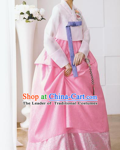 Traditional Korean Costumes Bride Formal Attire Ceremonial Pink Full Dress, Korea Hanbok Court Embroidered Wedding Clothing for Women