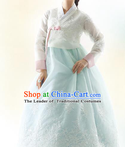 Traditional Korean Costumes Bride Formal Attire Ceremonial White Blouse and Blue Lace Dress, Korea Hanbok Court Embroidered Clothing for Women