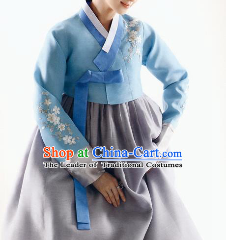 Traditional Korean Costumes Bride Formal Attire Ceremonial Blue Blouse and Grey Dress, Korea Hanbok Court Embroidered Clothing for Women