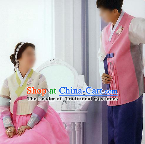 Traditional Korean Costumes Bride and Bridegroom Wedding Clothing Complete Set, Korea Hanbok Court Embroidered Clothing for Women for Men